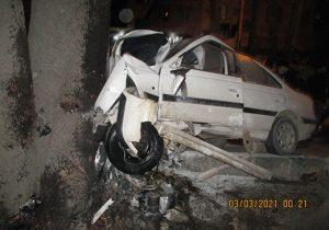 تصادف خونین پژو پارس با درخت در جاده کهنز شهریار