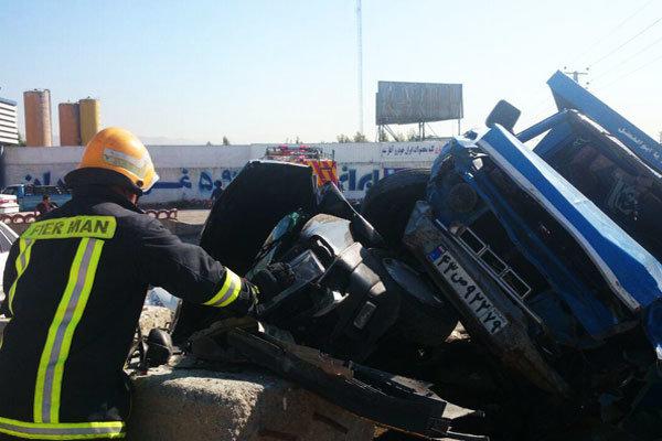تصادف زنجیره ای ۴ خودرو در کمربندی شهریار- تهران