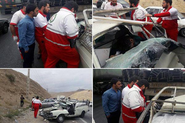مصدومیت ۹ نفر بر اثر تصادف زنجیرهای ۶ خودرو در ملارد