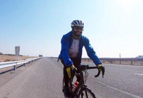 رضا حضرتی مسیر ۳۰۷ کیلومتری کرج تا منطقه آزاد انزلی را در کمتر از ۱۲ ساعت رکاب زد