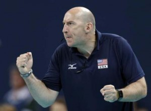 USA coach Hugh McCutcheon attempts to fire up his team against Brazil during a women's volleyball gold medal match at the 2012 Summer Olympics Saturday, Aug. 11, 2012, in London. (AP Photo/Chris O'Meara)