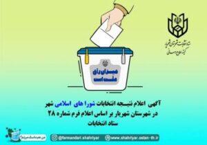 نتایج آرای ششمین دوره انتخابات شورای اسلامی شهر صباشهر